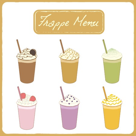 Vector drawing isolated frappe beverage  menu for cafe shop. 矢量图像