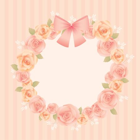 cerebrate: Lover invitation card.Roses and ribbon decoration around the bouquet. Illustration