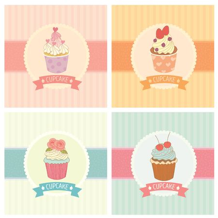cartoon strawberry: drawing bakery cafe.The cupcakes decoration with background and ribbon.Vintage style pastel color. Illustration