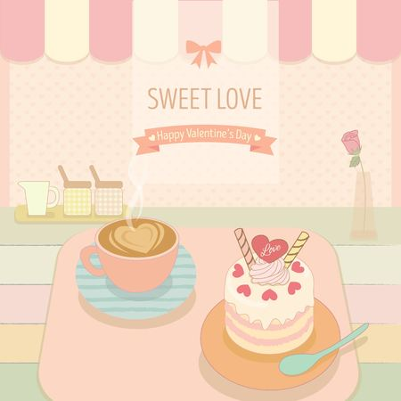 awnings: cake and coffee in the bakery cafe shop.Cute theme and pastel color for valentines day.