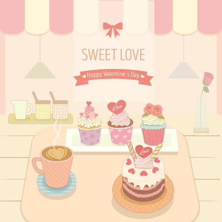 awnings: Vector the cakecoffee in the bakery cafe shop.Cute theme and pastel color for valentines day.