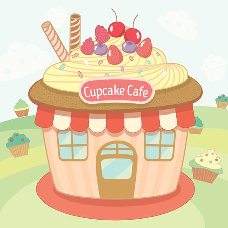awnings windows: Vector cute the cupcake house cafe.