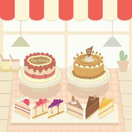 homemade cake: Vector the cakes in the bakery cafe shop.Cute theme and pastel color.