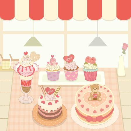 Vector die Kuchen und Eis in der Bäckerei Café shop.Cute Thema und Pastellfarben.