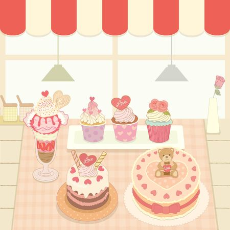 homemade cake: Vector the cakes and ice cream  in the bakery cafe shop.Cute theme and pastel color.
