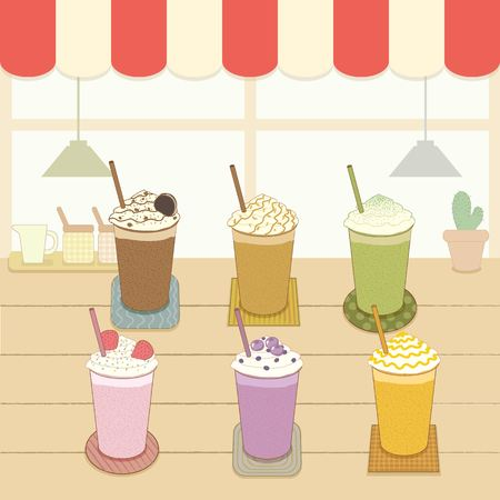 awnings: Vector the beverages frappe in the cafe shop.Pastel color. Illustration