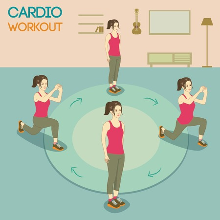 cardio workout: Vector a woman.She was exercise at home Illustration
