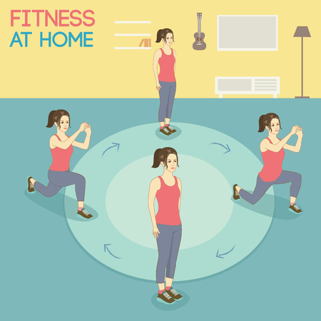was: Vector a woman.She was exercise at home Illustration