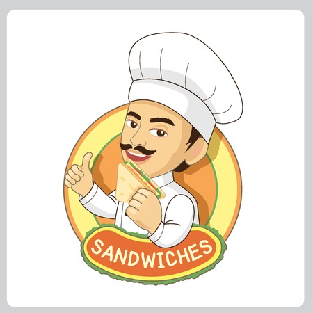 cartoon hat: Vector sandwiches logo for restaurant and bakery shop.The master chef man eating sandwich. Illustration