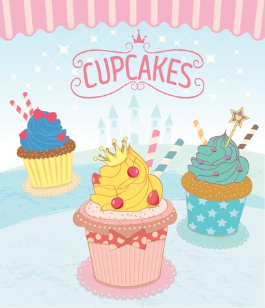 awnings: Vector the cupcakes in princess theme concept.Blue background color. Illustration