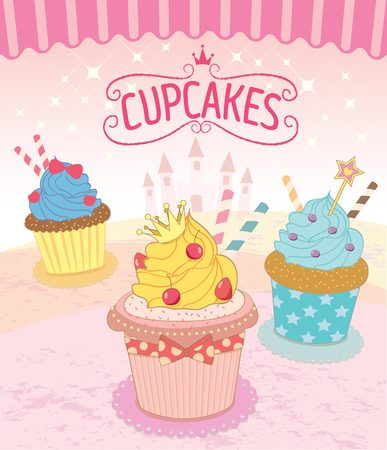 sweet background: Vector the cupcakes in princess theme concept.Pink background color.