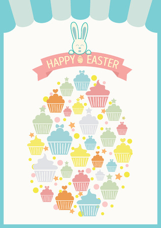 awnings: Vector of cupcakes collage into the egg for easters day.Blue and pastel colors tone