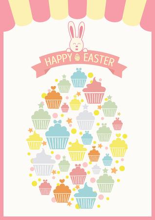enamorados caricatura: Vector de magdalenas collage en el huevo de Pascua de colores pasteles y day.Pink tono