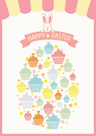 enamorados caricatura: Vector of cupcakes collage into the egg for easters day.Pink and pastel colors tone