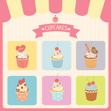Vector cupcakes menu decoration with color box frame and awning in bakery shop.Pink border Ilustração