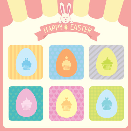 awnings: Vector of happy easter theme.The eggs design by cupcakes put in pattern colors frame. Illustration