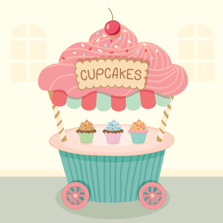 bake sale sign: Vector cupcake push cart on street background.Pastel color cute style.