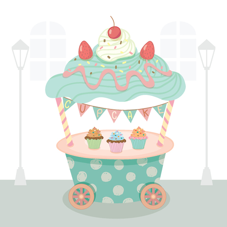 bake sale sign: Vector cupcake push cart on street background.Pastel color on blue and pink cute style.Decoration with triangle flags.