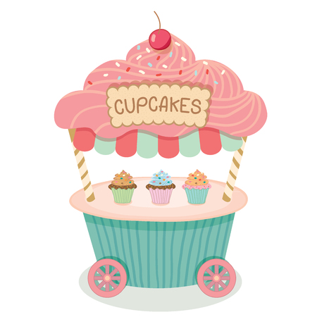 awnings: Vector cupcake push cart on isolated.Pastel color cute style.