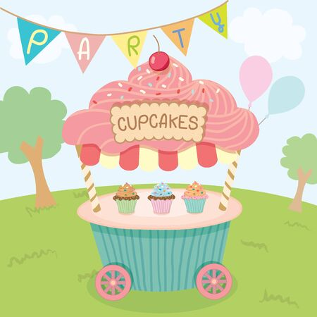 push cart: Vector cupcake push cart on park background in party.Pastel color cute style.
