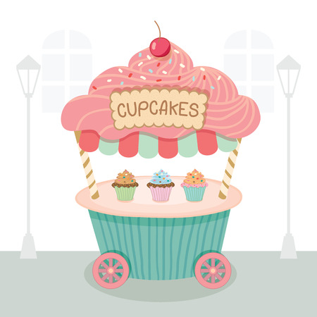 push cart: Vector cupcake push cart on street white background.Pastel color on blue and pink cute style