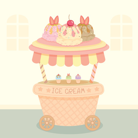 push cart: Vector ice cream push cart on street background.Pastel color in pink and cute style.