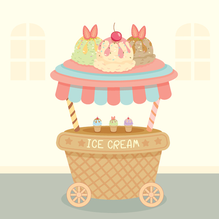 Vector ice cream push cart on street background.Pastel color in blue and pink.Cartoon style.
