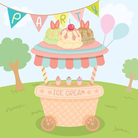 push cart: Vector ice cream push cart on park background in party.Pastel color cute style.
