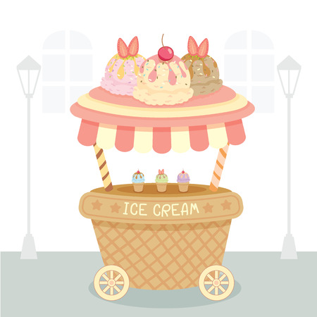 awnings: Vector ice cream push cart on white street background.Pastel color in pink.Cartoon style.