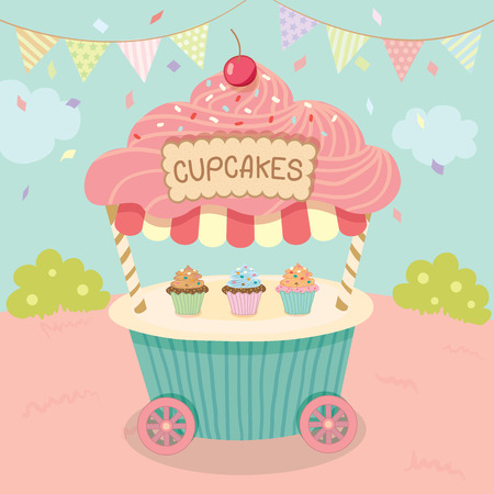 push cart: Vector pink cupcake push cart on blue background party.Pastel color cute style.