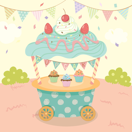 push cart: Vector blue cupcake push cart on park background party.Pastel color cute style. Illustration