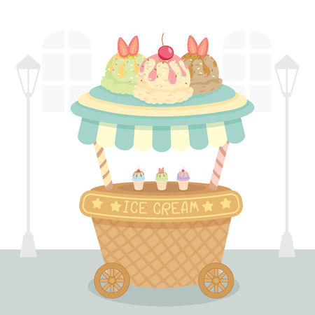 Vector ice cream push cart on street background.Pastel color in blue and cute style.