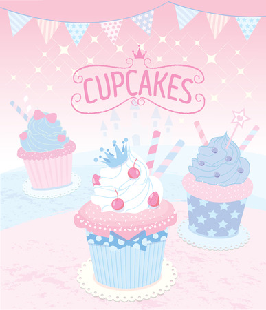 fancy pastry: Vector the cupcakes in princess theme concept.Rose quartz and serenity colors theme of pink background.