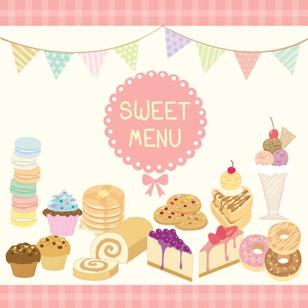 swiss roll: Vector dessert sweet menu decoration with triangle flags in party theme.Pink and pastel colors. Illustration