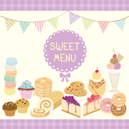 swiss roll: Vector dessert sweet menu decoration with triangle flags in party theme.Purple and pastel colors.
