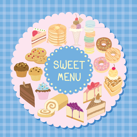dairy products: Vector bakery and dairy products sweet menu with blue tartan  and pink background.
