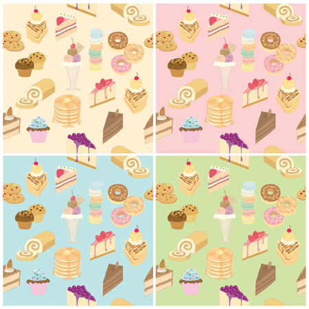 dairy products: Vector pattern bakery and dairy products sweet menu with blue cream pink green background colors pastel.Seamless wallpaper or wrapping paper.