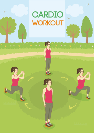 cardio workout: Infographic vector a woman.She was exercise cardio workout outdoor at park.