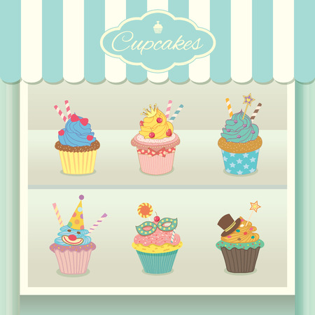 cheese cake: Vector fantasy cupcake display on showcase decoration  in bakery cafe shop.Pastel colors in blue aqua background.
