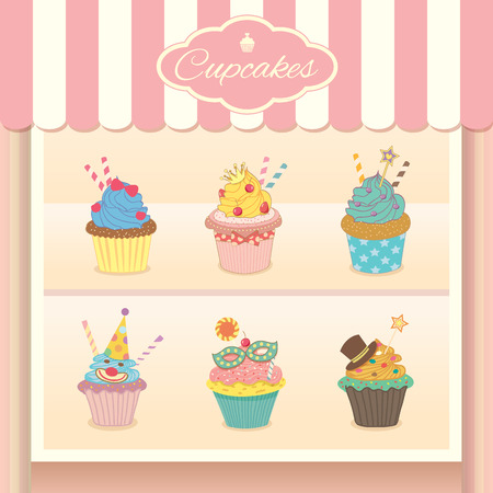 cheese cake: Vector fantasy cupcake display on showcase decoration in bakery cafe shop.Pastel colors in sweet pink background.