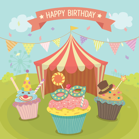 cartoon park: Vector cupcakes fantasy decoration with circus tent  in carnival theme park background for birthday party. Illustration