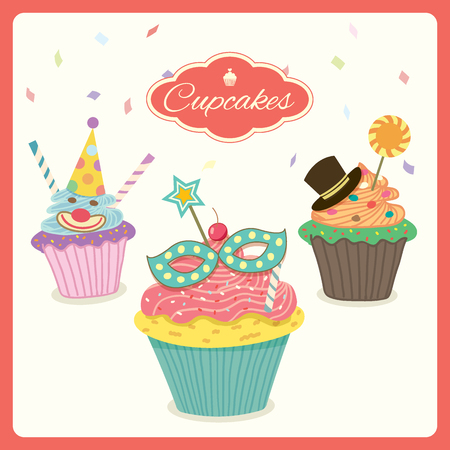 cupcakes isolated: Cupcakes of fancy decoration  in carnival party theme isolated.