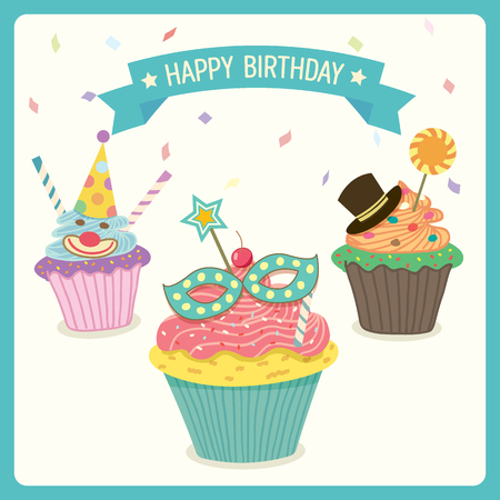 fancy border: Cupcakes of fancy decoration  in carnival birthday party theme.Isolated and green blue border.