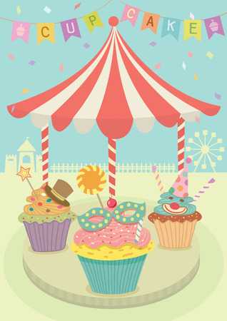 merry go round: Vector fancy cupcakes decoration with merry go round on carnival party theme  background.Pastel and aqua blue colors. Illustration