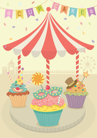 merry go round: Vector fancy cupcakes decoration with merry go round on carnival party theme  background.Pastel and beige colors.