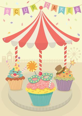 Vector magdalenas de lujo con decoración alegre ronda de ir en tema de la fiesta de carnaval background.Pastel y beige.