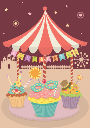 merry go round: Vector cute fantasy cupcakes decoration with merry go round on carnival party theme park in night background.
