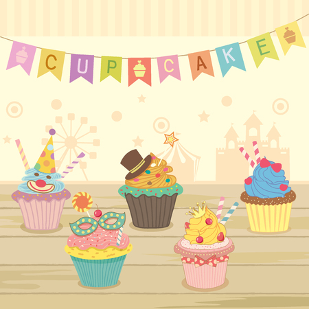 theme park: Vector cute cupcakes fantasy decoration with party flags in theme park for bakery cafe shop.