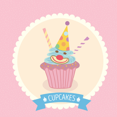 cheese cake: Vector fantasy cupcake on pink background with blue ribbon for party invitation or greeting card.Bakery menu cake cafe.Cute style.