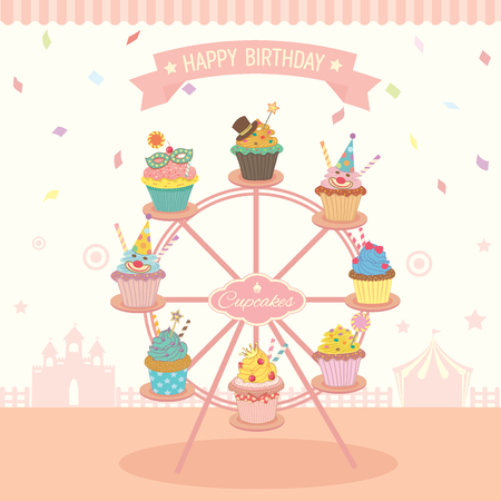 cafe shop: Vector fantasy cupcakes decoration on the ferris wheel for birthday party fest.Pastel of pink colors and cute style for bakery cafe shop.